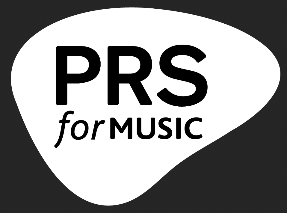 PRS for music logo (white)