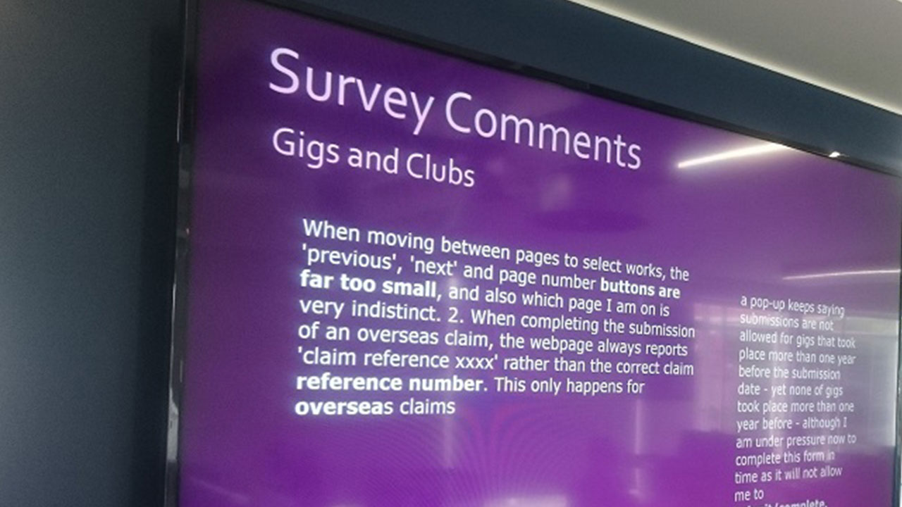 <i>PRS for Music</i> member comments are displayed throughout our offices