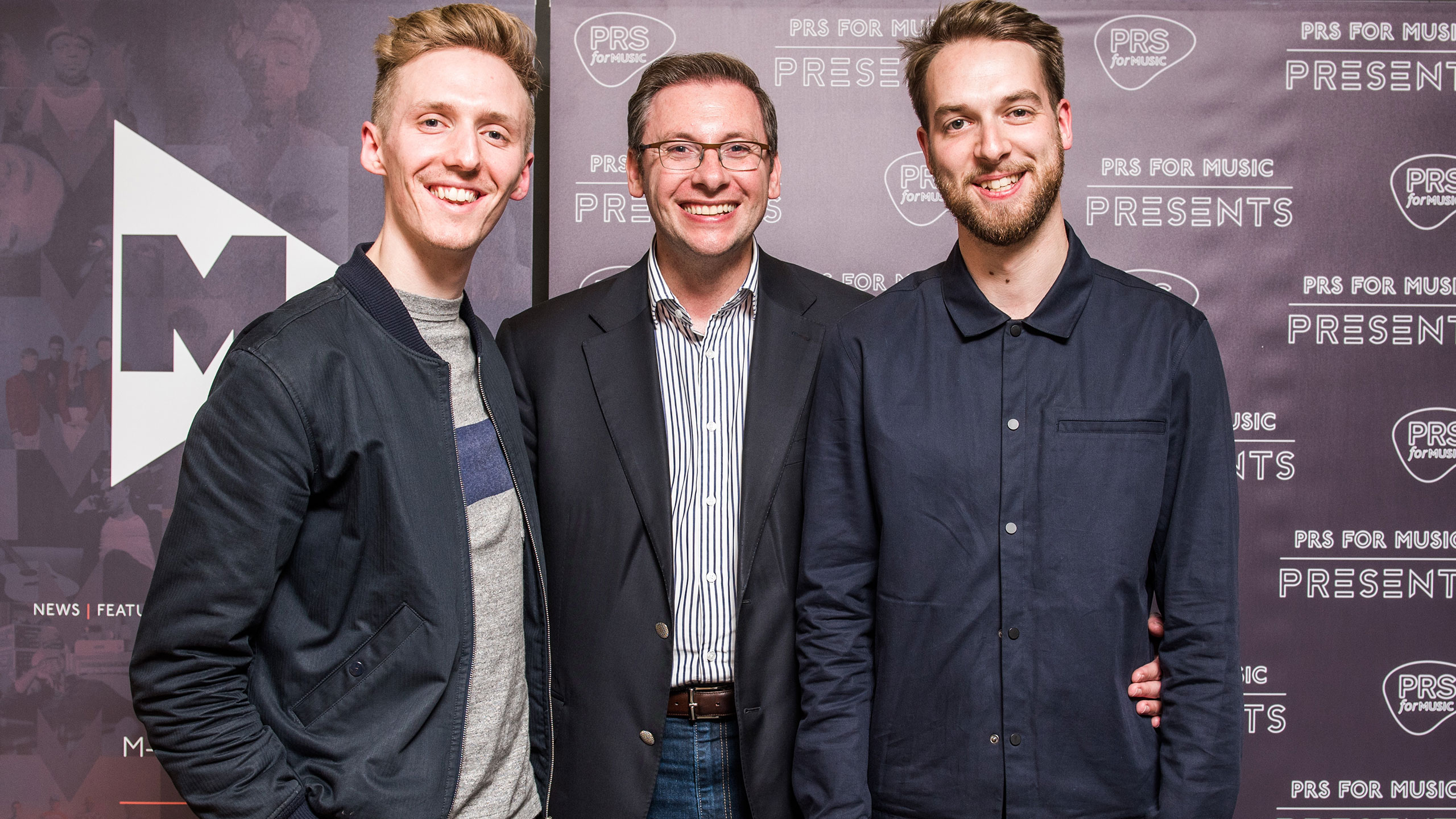 James Hatcher (Honne), Paul Clements (executive director of membership at PRS for Music) and Andy Clutterbuck (Honne) at PRS Presents