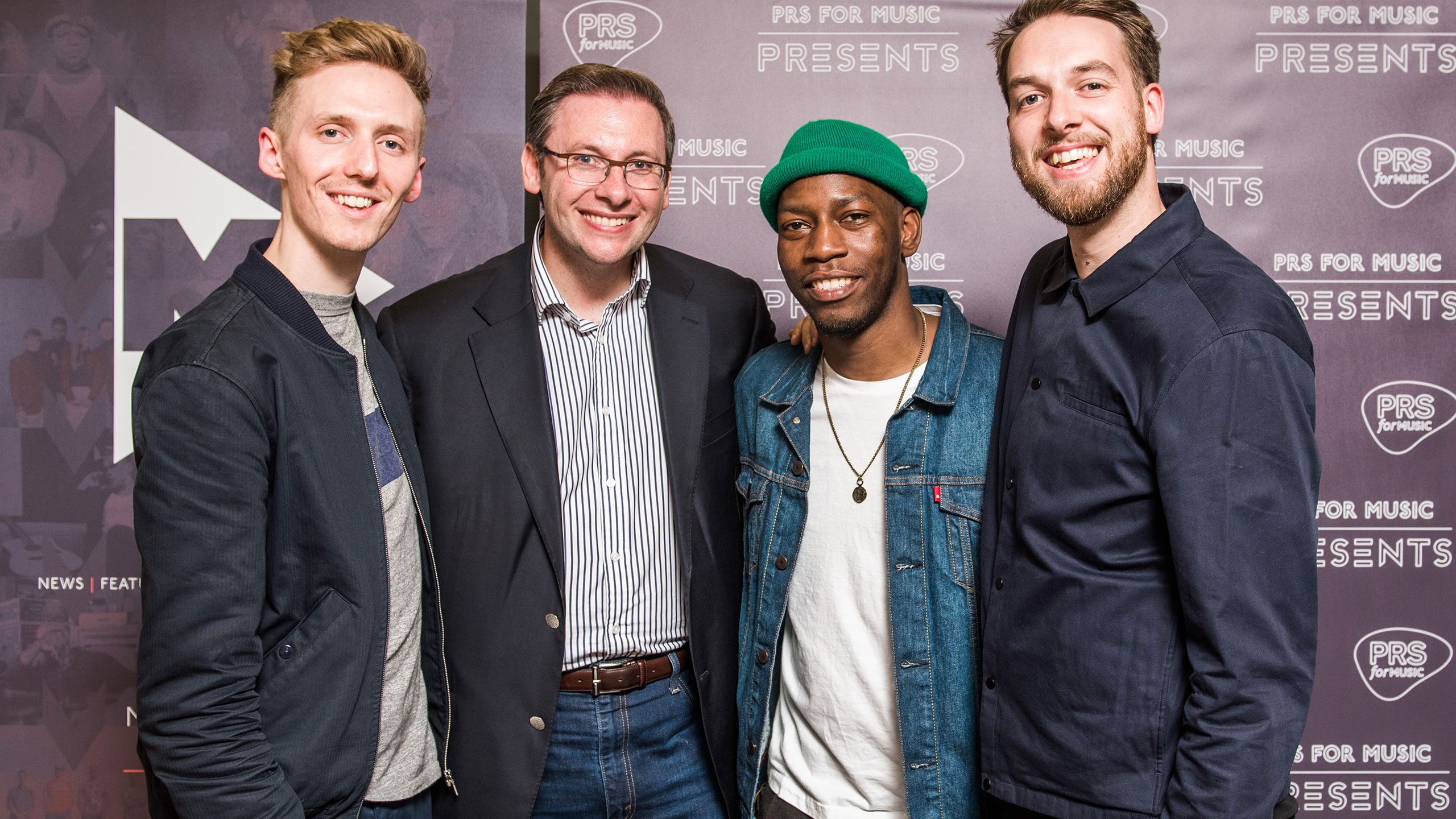 James Hatcher (Honne), Paul Clements (executive director of membership at PRS for Music), Tiggs Da Author and Andy Clutterbuck (Honne) at PRS Presents