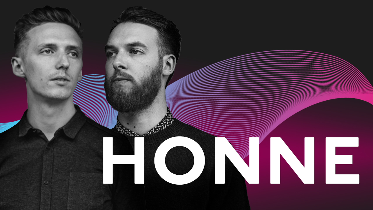 James Hatcher and Andy Clutterbuck of Honne with a graphic background
