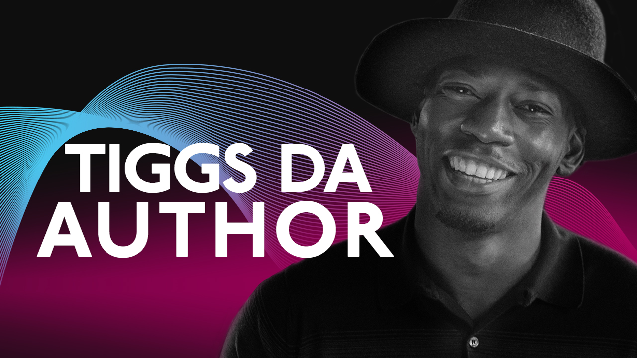 Tiggs Da Author wearing a black hat, with a graphic background