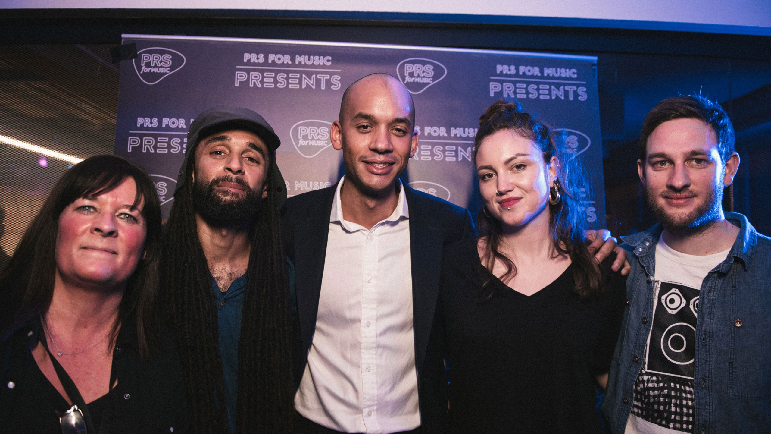 Karen Buse (former director of membership and international), Andrew Ashong, Chuka Umunna, Amy Field (marketing manager, events) at PRS for Music Presents