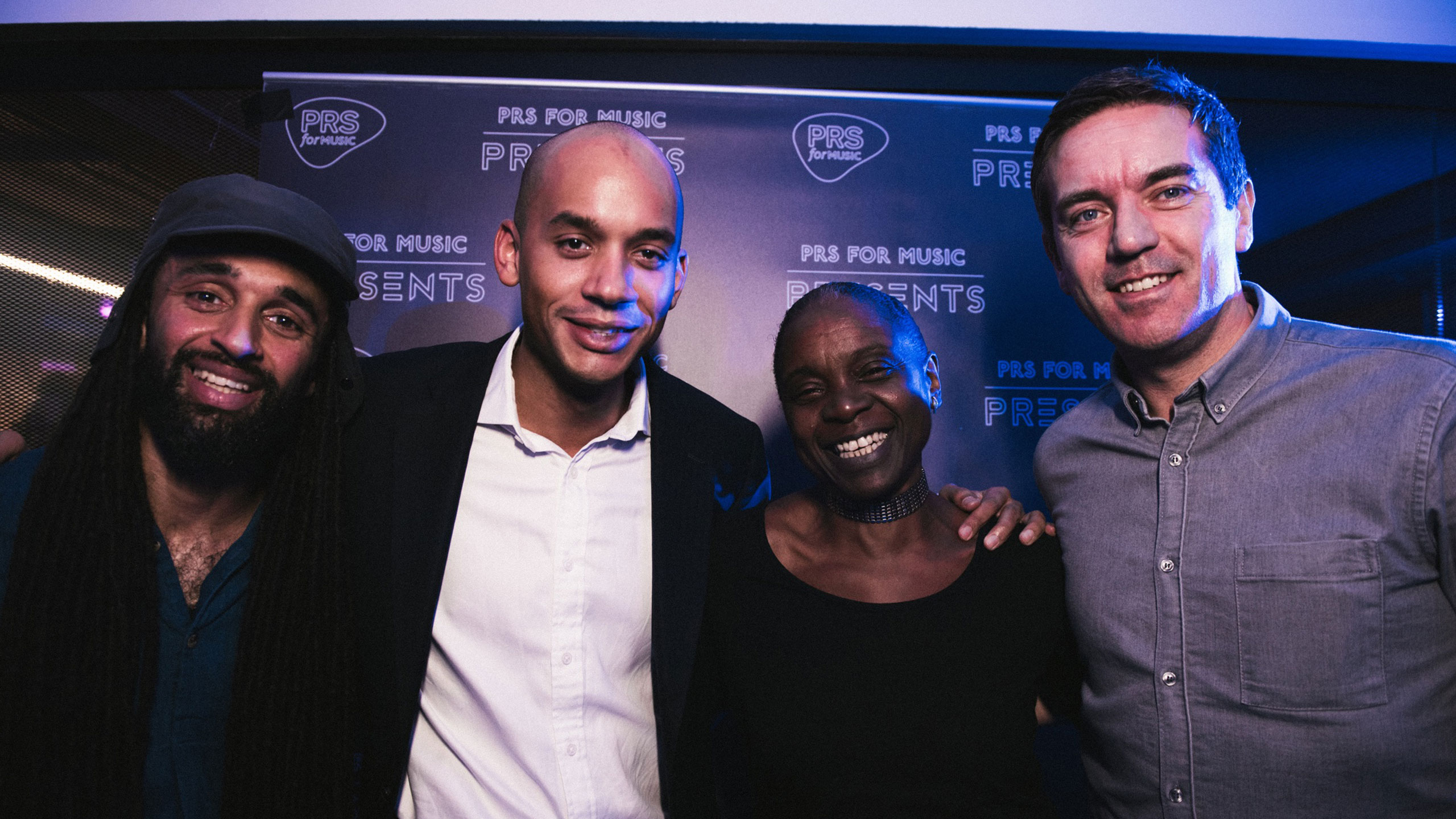 Andrew Ashong with Chuka Umunna and PRS for Music staff at PRS for Music Presents in Streatham