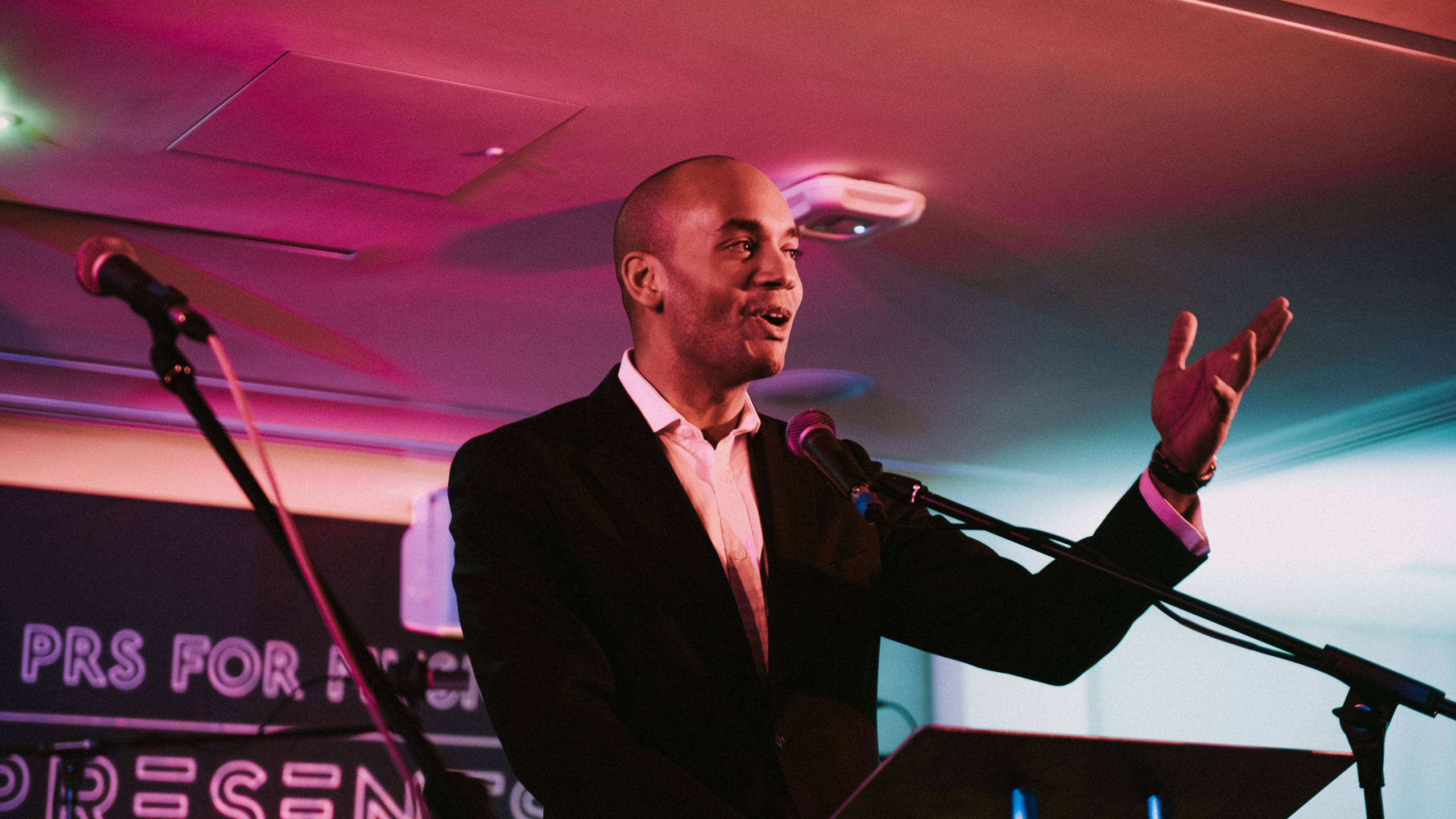 Chuka Umunna, former MP for Streatham, and PRS for Music Ambassador, talks on stage at PRS for Music Presents