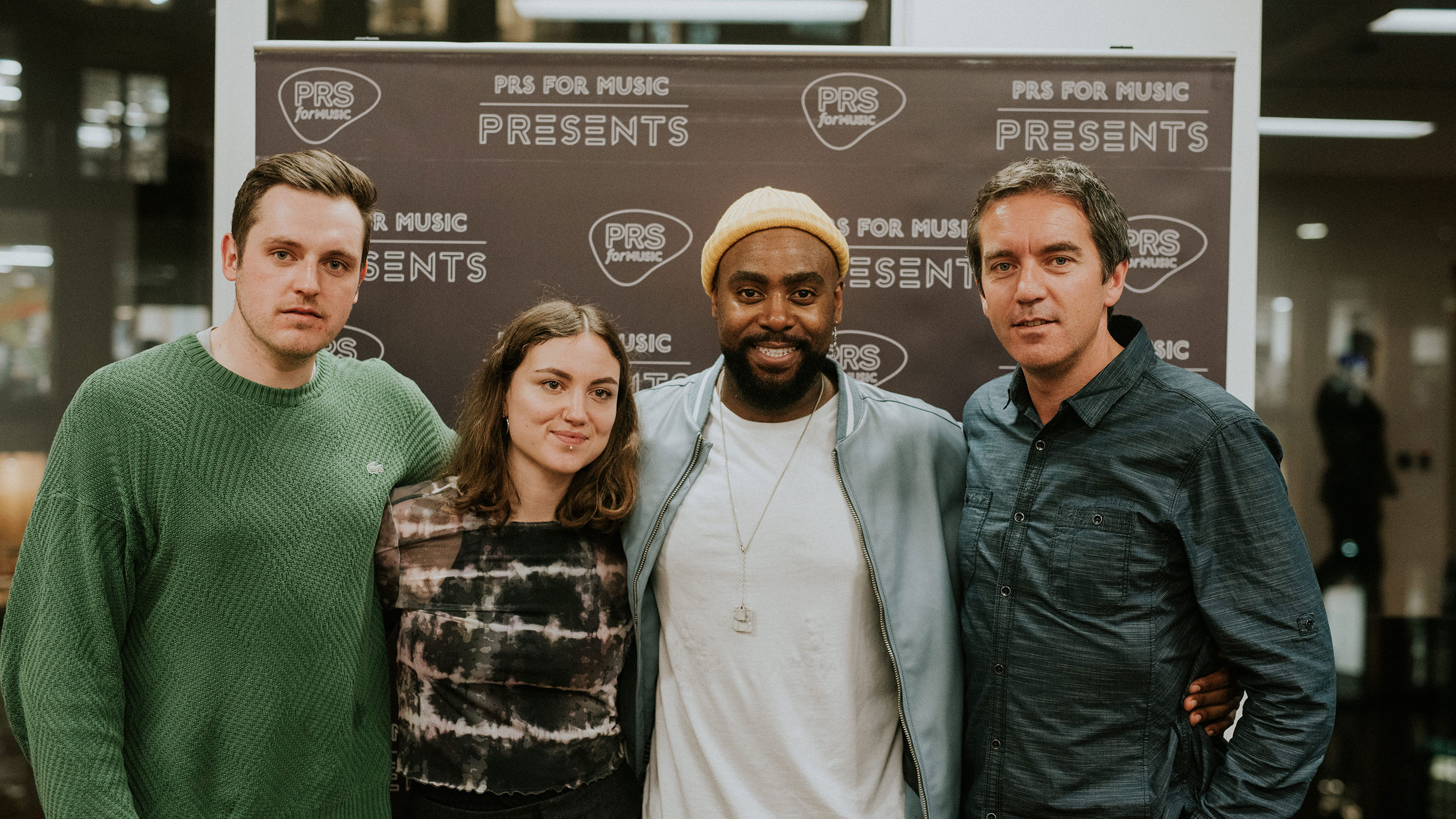 David Bargery (events), Amy Field (events), Jodie Abacus and Paul Sims (head of marketing) at PRS for Music Presents