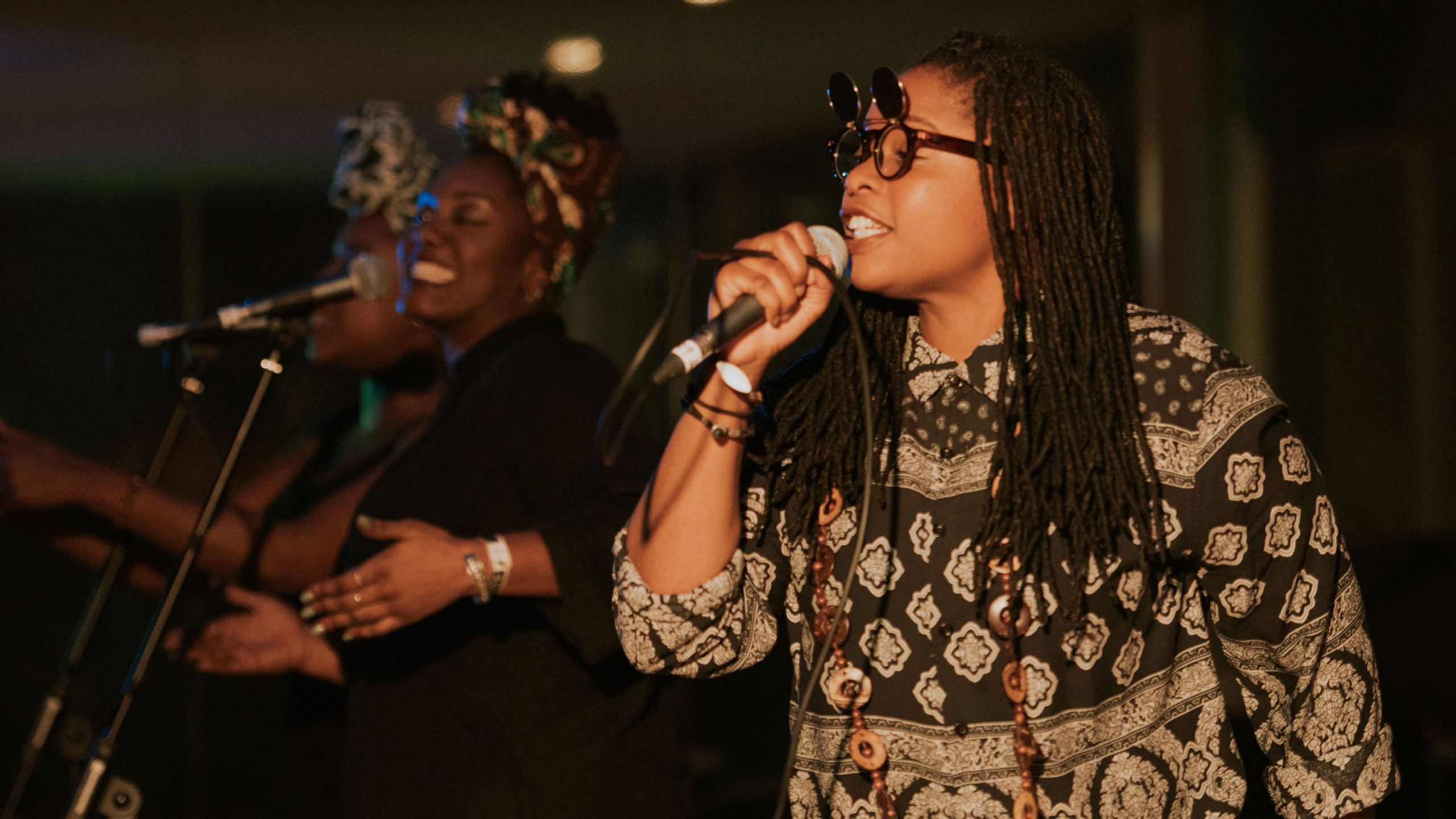 Speech Debelle performs with two backing singers at PRS for Music Presents