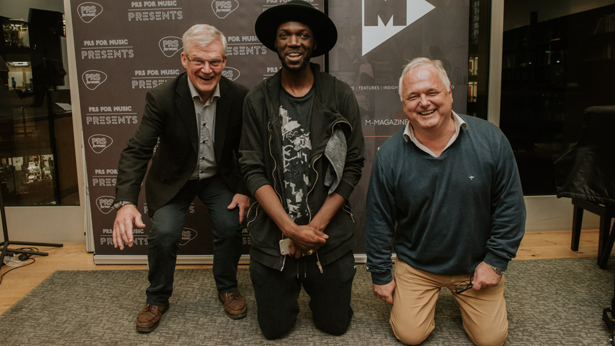 Robert Ashcroft (PRS), Baloji and Christophe Depreter, CEO of SABAM at PRS for Music Presents