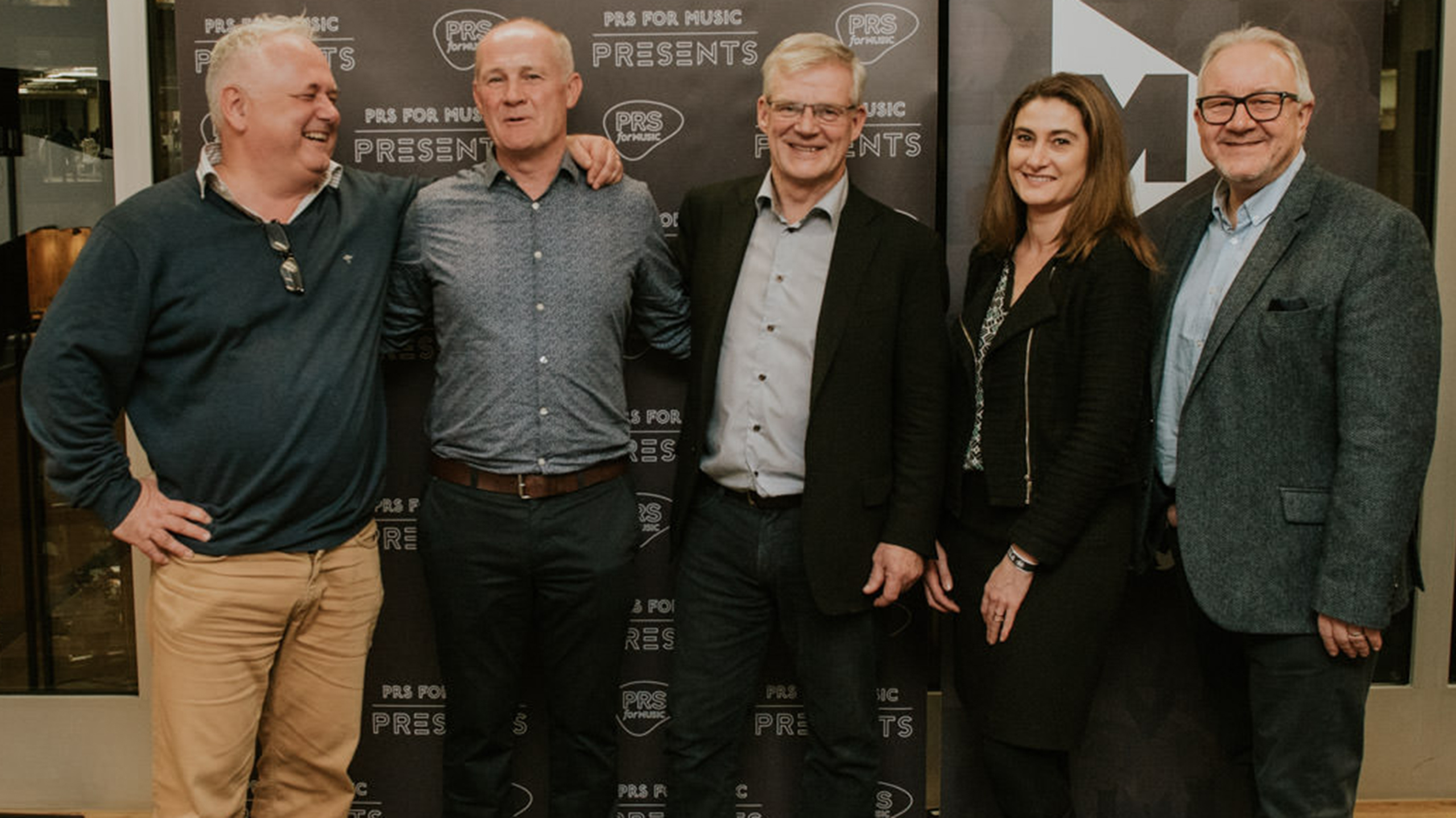 Robert Ashcroft and Nigel Elderton with Victor Finn (IMRO), Caroline Champarnaud (SACEM) and Christophe Depreter (SABAM) at PRS for Music Presents