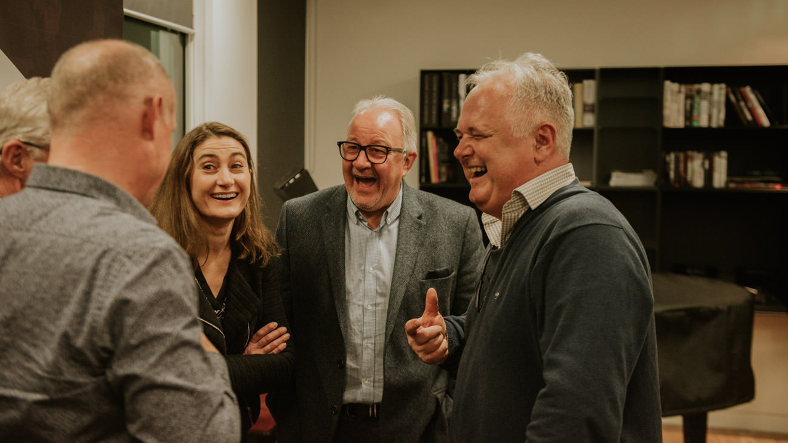 Robert Ashcroft and Nigel Elderton laughing with Victor Finn (IMRO), Caroline Champarnaud (SACEM) and Christophe Depreter (SABAM) at PRS for Music Presents