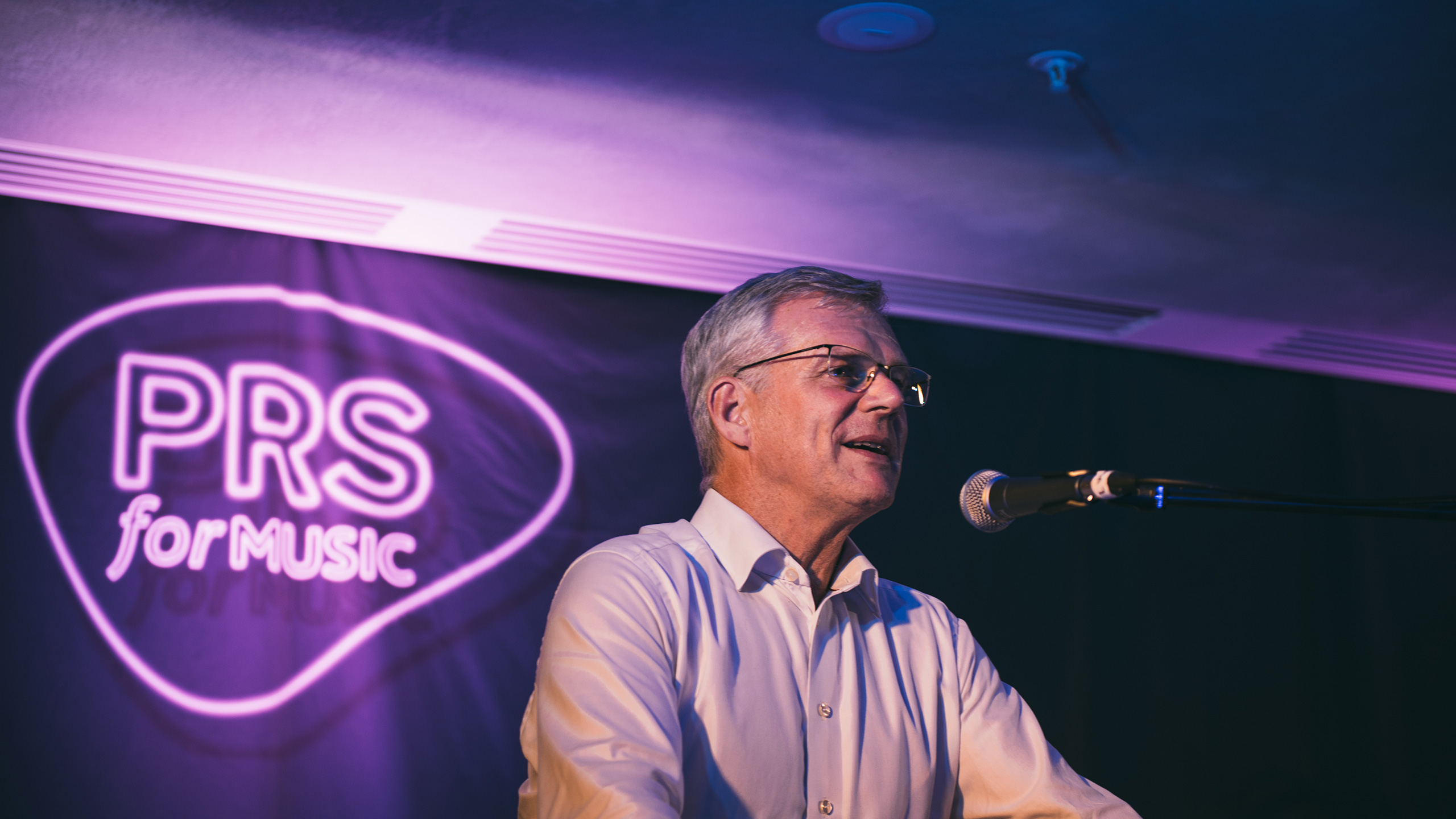 Robert Ashcroft gives a speech at PRS for Music Presents