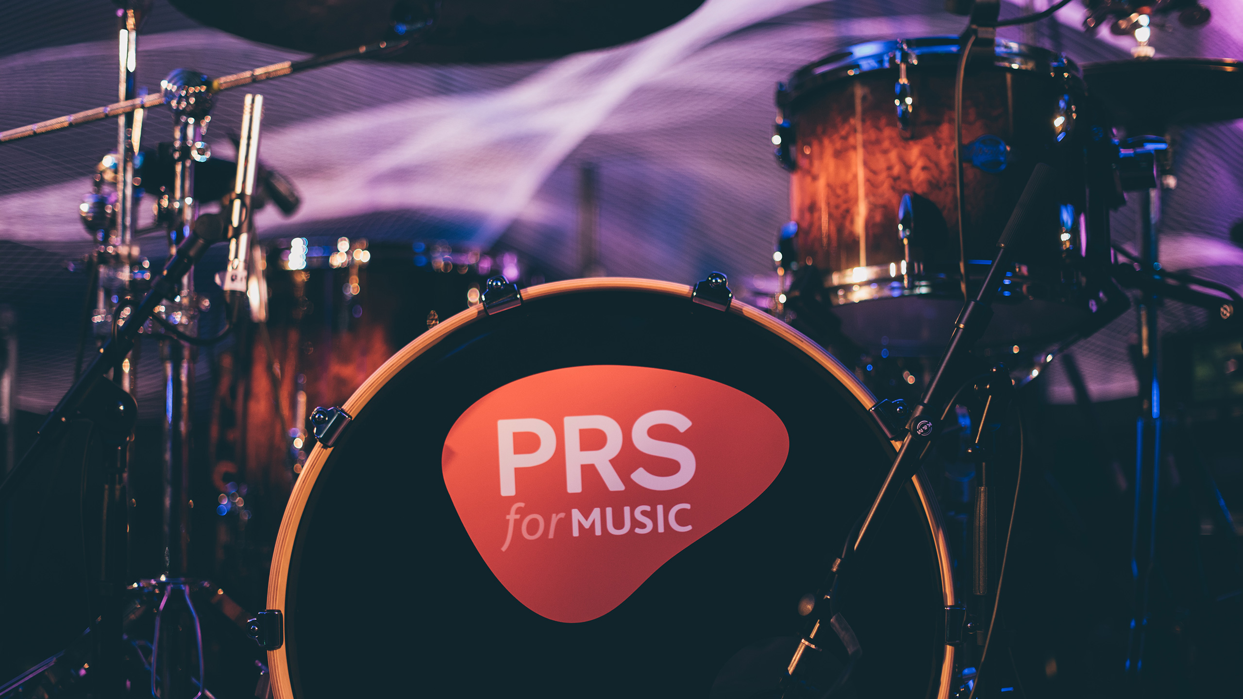 Drum kit with PRS for Music logo on the kick drum