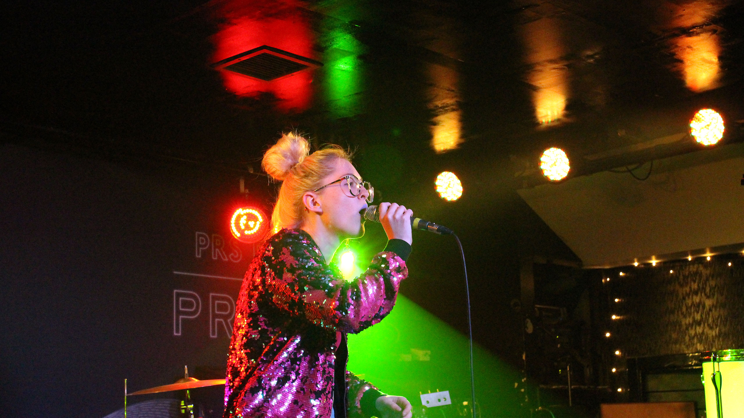 Be Charlotte performing in a pink squined jacket at PRS Presents in Edinburgh