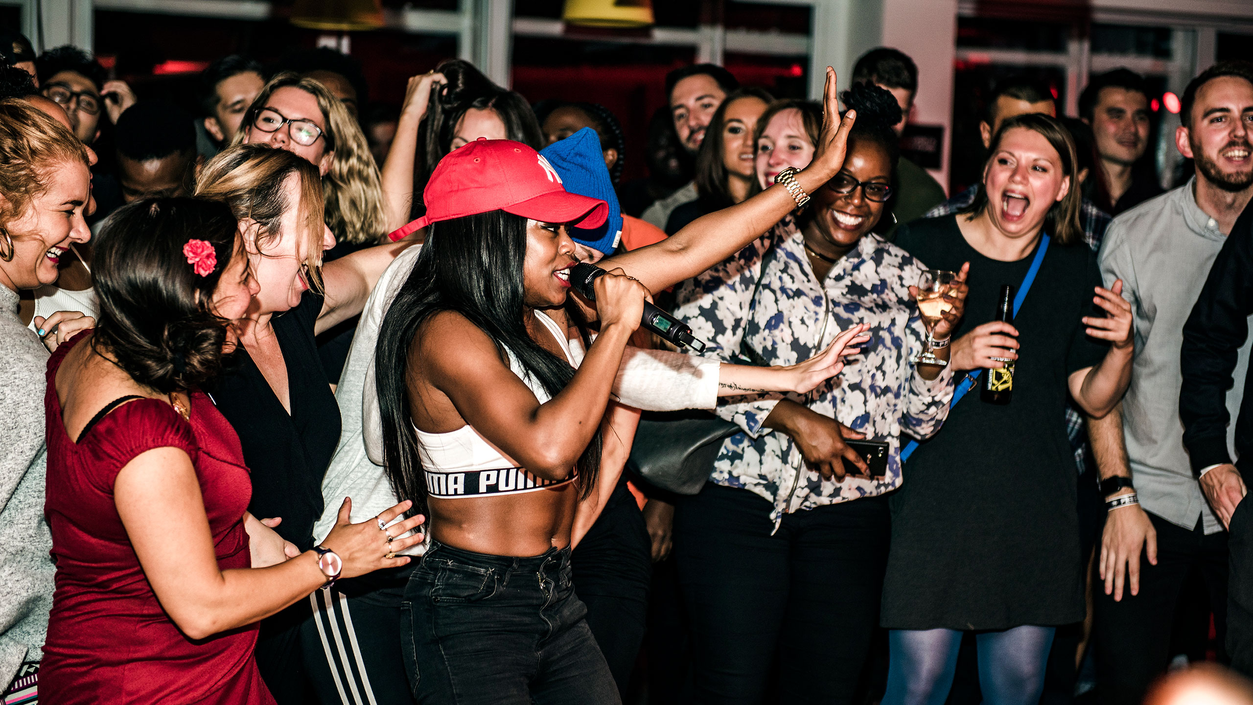 Lady Leshurr performing in the audience at PRS for Music Presents