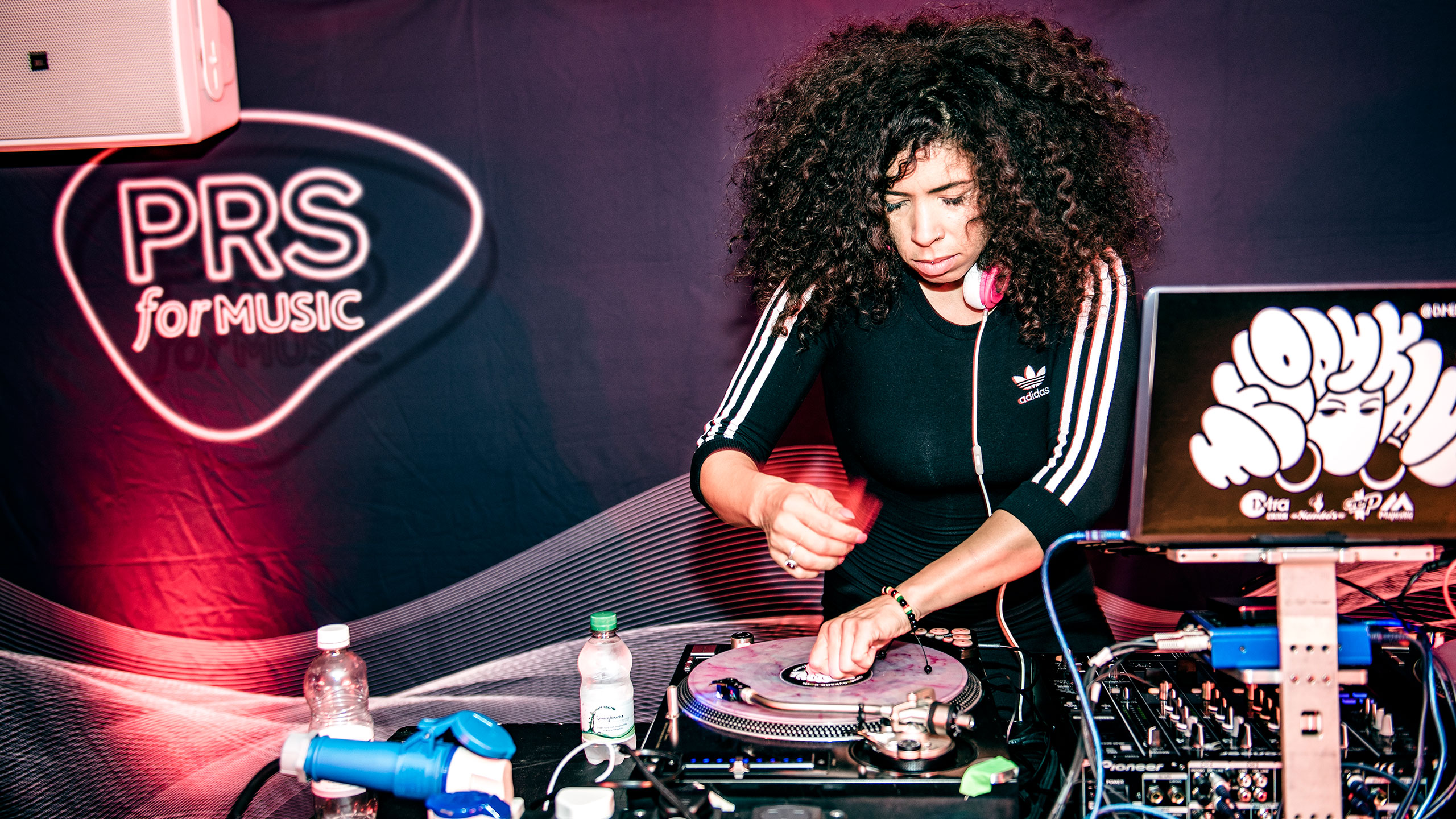 Melody Kane DJing on vinyl decks at PRS for Music Presents