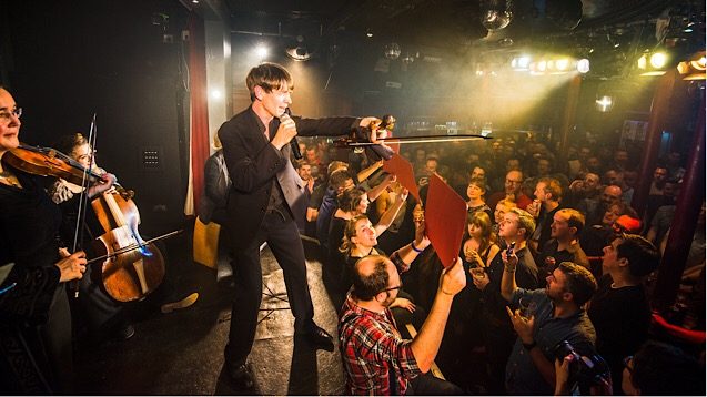Orchestra of the Age of Enlightenment leader Matt Truscott performs at the Vauxhall Tavern
