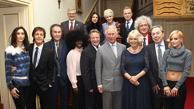 Sir Paul McCartney, Ray Davies, Laura Mvula, David Arnold, Howard Goodall, Gary Kemp, Howard Kretzmer, David Lowe, Their Royal Highnesses The Prince of Wales and The Duchess of Cornwall, Brian May, Andrew Lloyd Webber and Lily Allen at Clarence house